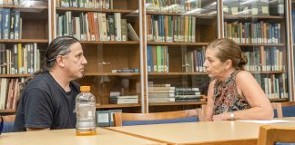 Shelly Heideman and Jason Bengtsson meet in the NE library and discuss the Men of Color Collaborative. Photo by Joseph Serrata/The Collegian