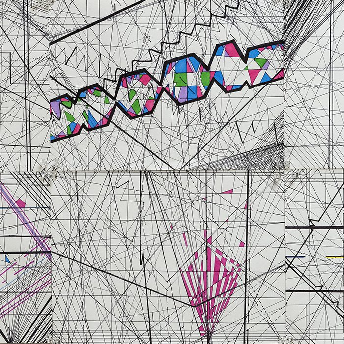 A collaborative project gathered the individual works of multiple students and culminated in a larger group piece. Thousands of lines were drawn in order to make the artwork.